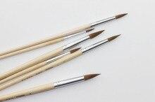 6 pièces/ensemble, belette cheveux eau tête ronde craie peinture stylo brosse acrylique peinture à lhuile aquarelle Art professionnel fournitures