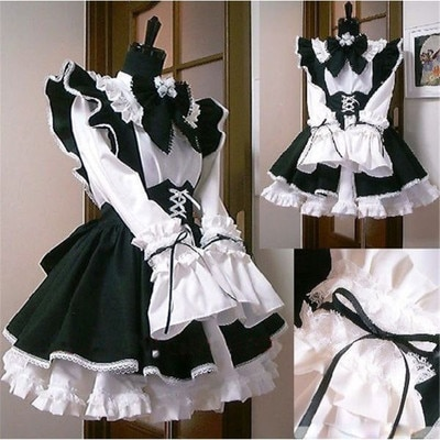 Women Maid Outfit Anime Long Dress Black and White Apron Dress Lolita Dresses Men Cafe Costume Cosplay Costume Горничная Mucama