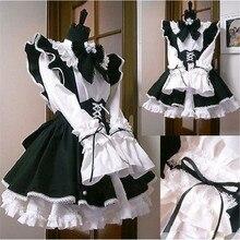 Donne Maid Outfit Anime abito lungo in bianco e nero grembiule Dress Lolita abiti uomini Cafe Costume Cosplay Costume Горничная Mucama