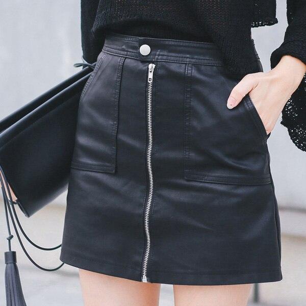 2019 Otoño Invierno mujeres falda de cuero PU Sexy Mini falda con bolsillos cremallera A-line paquete cadera alta cintura mujer ropa