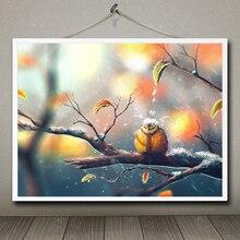Tiere Winter Schnee Sylar Vögel Blätter Fallen Titmouse Papagei Art Silk Poster Home Decor Bild 12x16 18x24 24x32 30x40 Zoll