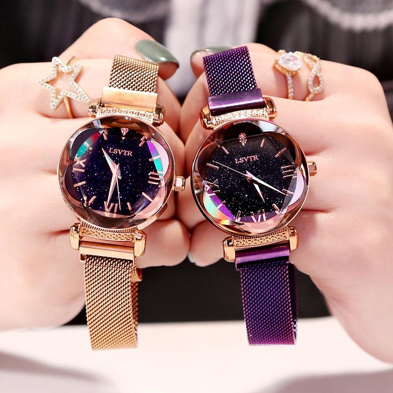 Часы женские, элегантные, с магнитной пряжкой, розовое золото, 2019