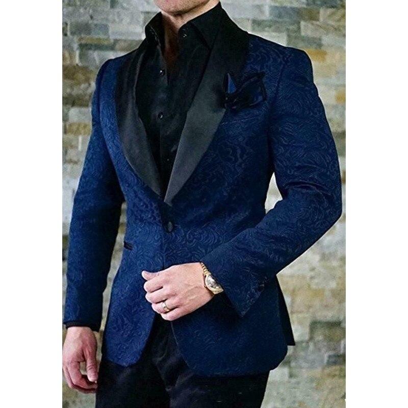 Trajes para hombre de cachemir azul de alta calidad, esmoquin para novio, padrino de boda, cena, trajes para padrino (chaqueta + pantalón + corbata) K2297