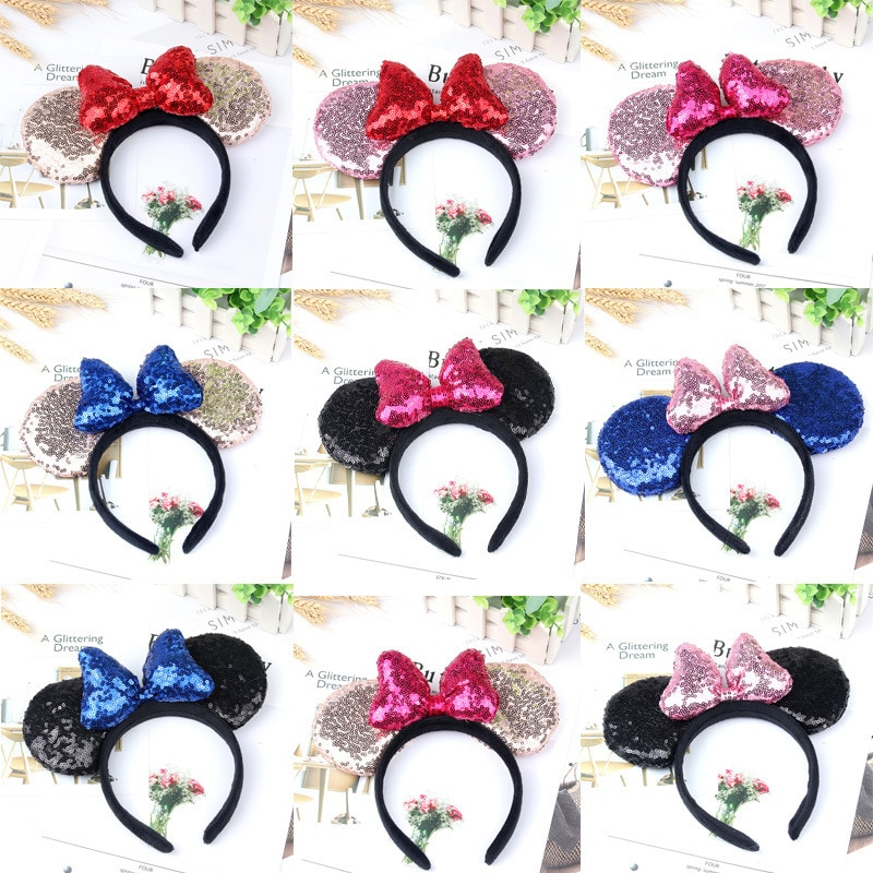 Mickey Minnie Ears Kids Cartoon Headwear Hair Hand Accessories Kawaii Plush Toys Birthday Gift For Girls Fashion