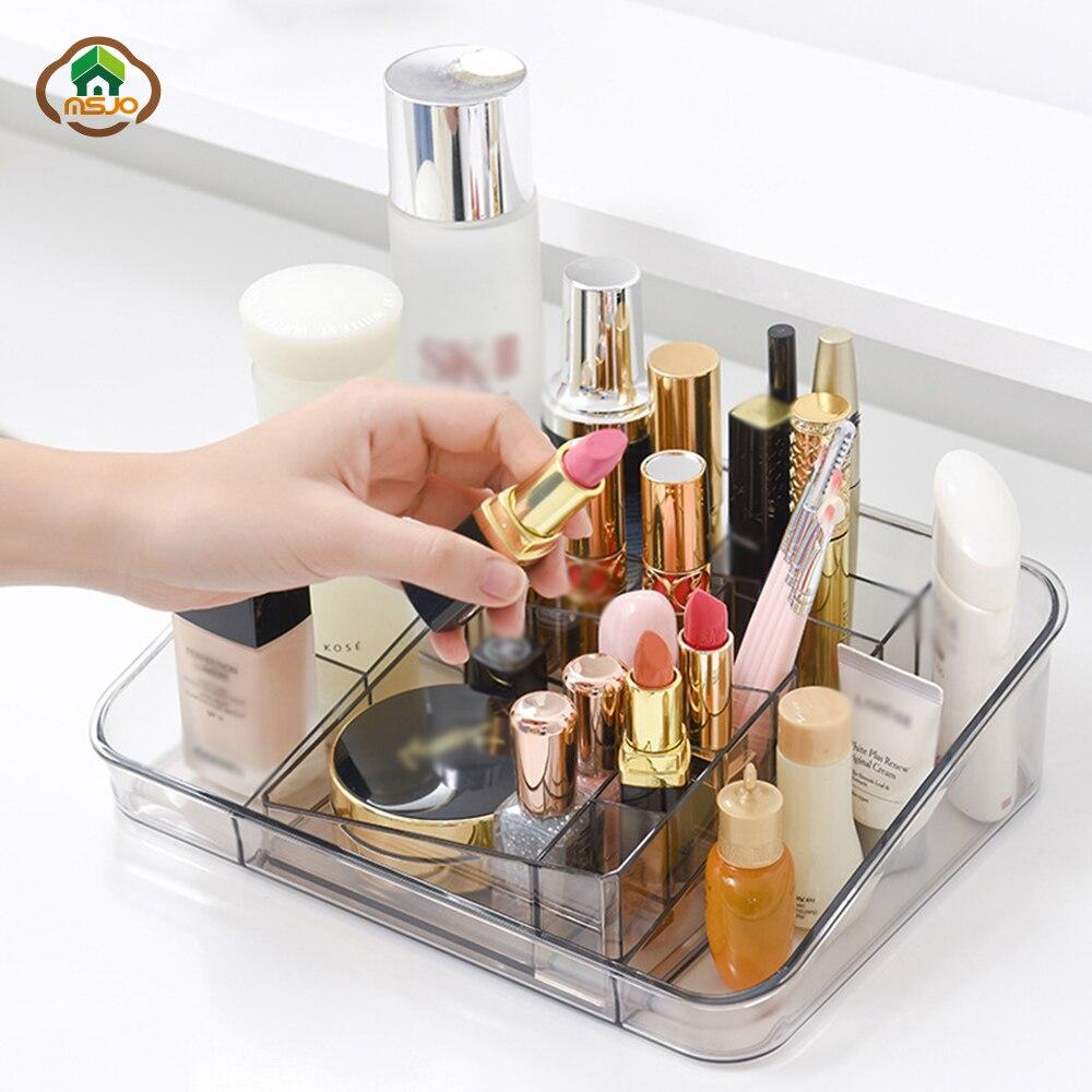 Msjo caixa de maquiagem para casa, caixa organizadora de plástico para cosméticos e organização de joias, esmalte, batom e maquiagem para casa ou desktop