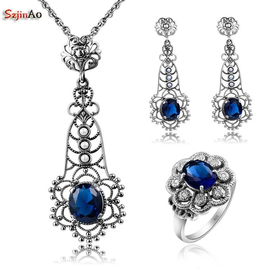 Szjinao, conjuntos de joyería de plata de ley 925 para fiestas africanas con zafiro para mujeres, pendiente, pendiente, anillo colgante, venta al por mayor