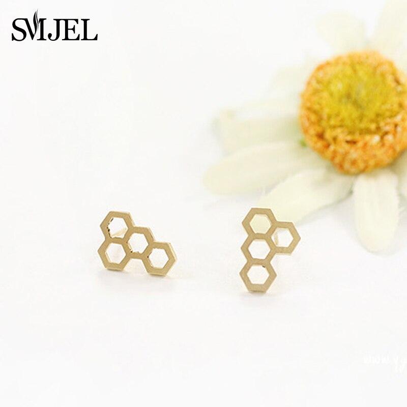 Joyería de moda SMJEL, nuevos aretes pequeños hexagonales para mujeres, pendientes modernos de gelatina con forma de panal, boucle doreille fantaisie