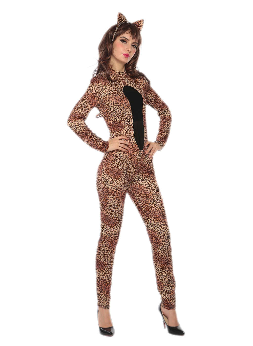 Traje de Catwoman Sexy para mujer, disfraz de gato leopardo, Halloween, mono de fantasía para mujer