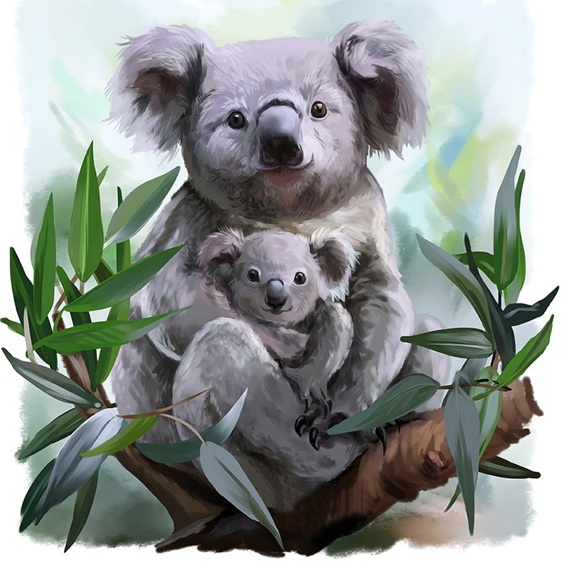 5d diy Diamond Painting Koala family full Diamond Embroidery Cross Stitch,handmade Diamond Mosaic,art and Crafts, Z1094