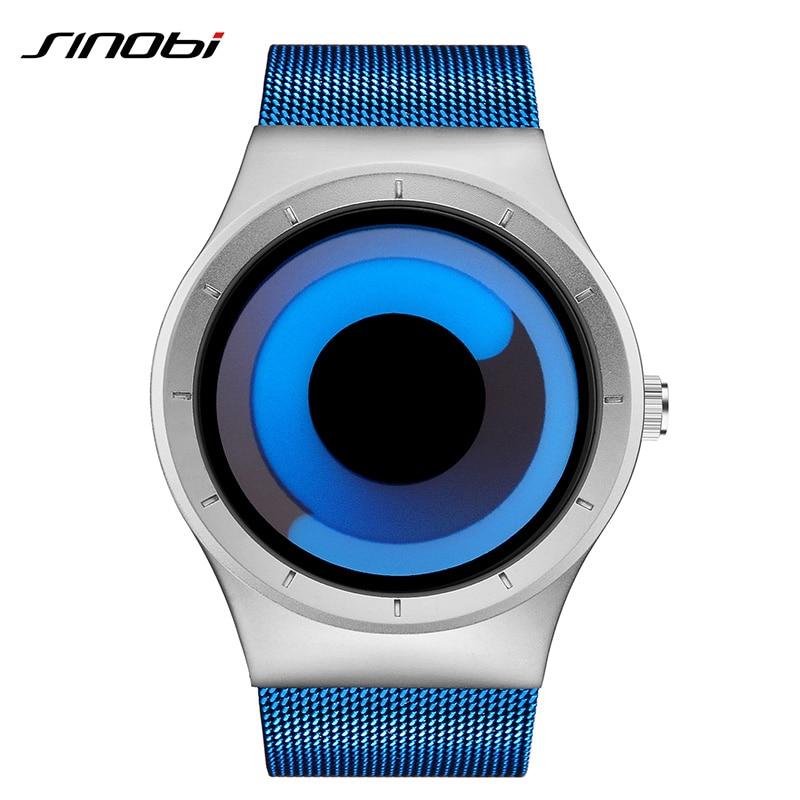 SINOBI Creative Mens Sports Watches Stainless Steel Mesh Band Luxury Quartz Clock Men Watches Waterproof Relogio Masculino 2019
