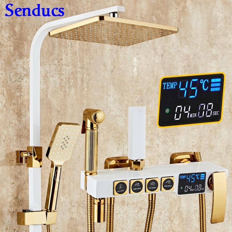 Senducs-مجموعة دش رقمية ، نظام دش للحمام ، ذهب أبيض ، نحاسي عالي الجودة ، سلسلة دش بدرجة الحرارة