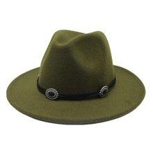 Seioum Winter Fedora Hat With Metal Belt Womens Wide Brim Felt Hat Men Fedora Panama Hat Caps Vintage Top Hat Chapeau Femme