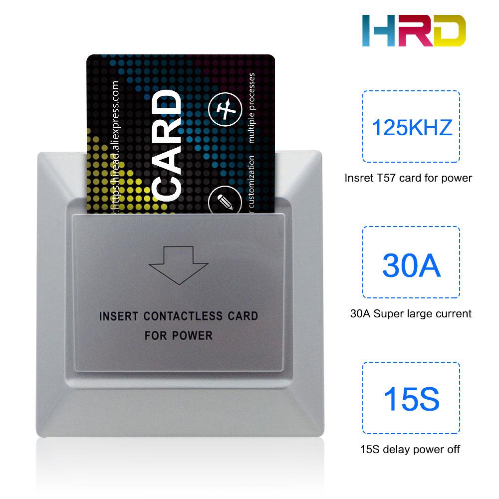 HiRead Silver Wall Control de acceso los interruptores 30A 220V 125KHz baja frecuencia de ahorro de energía interruptor de tarjeta para hoteles