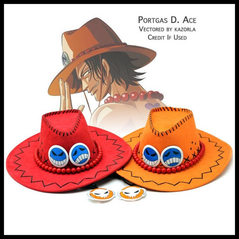 5 Cores Japão Anime One Piece Ace Hat Cosplay Chapéus de Cowboy Do Punk Cos Cap Trajes Prop Transporte da gota Do Vintage