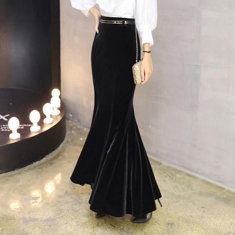 2019 S-5XL de talla grande elegante largo Maxi faldas de sirena para las mujeres de alta cintura de invierno negro Velour Ruffles Bao Hip Pleuche faldas