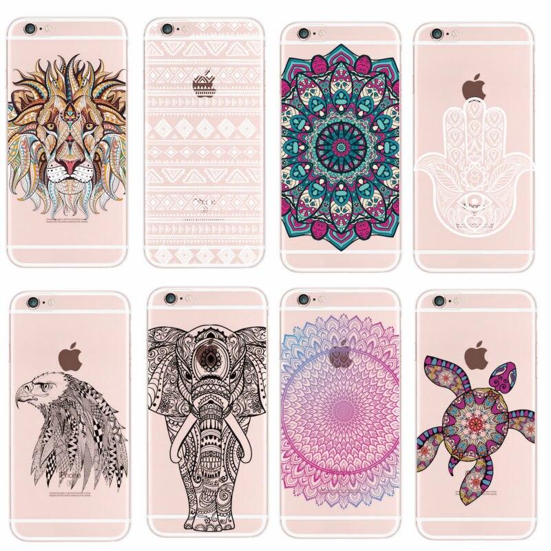 Мягкий чехол для iPhone 11 Pro 5 6 7 7Plus 8 8Plus X XS Max, мандалы, племена, Bohe, слона, Льва, волка, Dear Animals