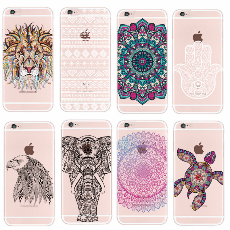 Para iPhone 11 Pro 5 6 7 7Plus 8 8Plus X XS Max moda Mandala Tribal Bohe elefante León Lobo queridos animales funda suave
