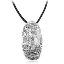 Vintage Big Fingerprint Pendant Necklace Personality Ancient Sliver Color Jewelry Long Rope Chain Accessories for Women Men