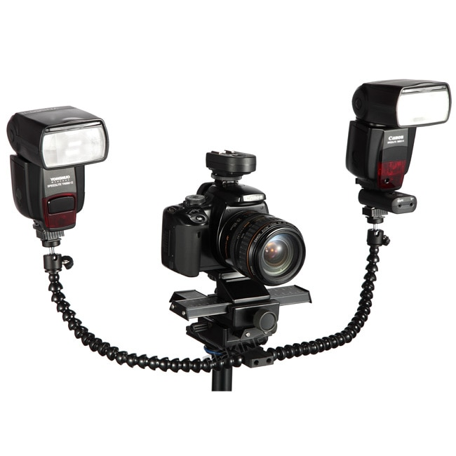 Meking Macro Shot Dual Arm Bracket Hotshoe Mount Octopus Flash Holder with Ball head for Speedlite DSLR Camera Tripod Plate