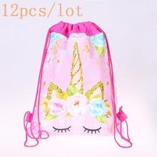 12pcs/lot Unicorn Theme High Quality Portable Drawstring Bag Girl Travel Clothes Shoes Bag Christmas
