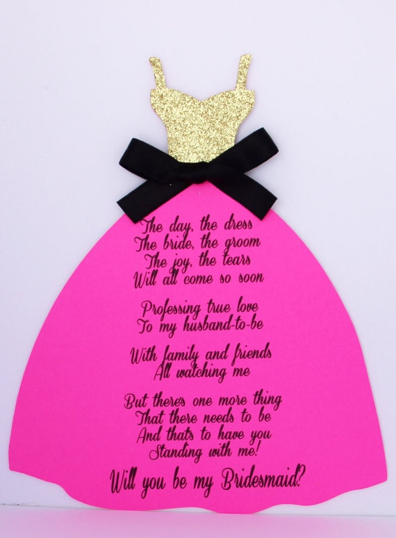custom gold Will you be my bridesmaid maid of honor asking Proposal Cards wedding Dress invitations Bridal Party favors