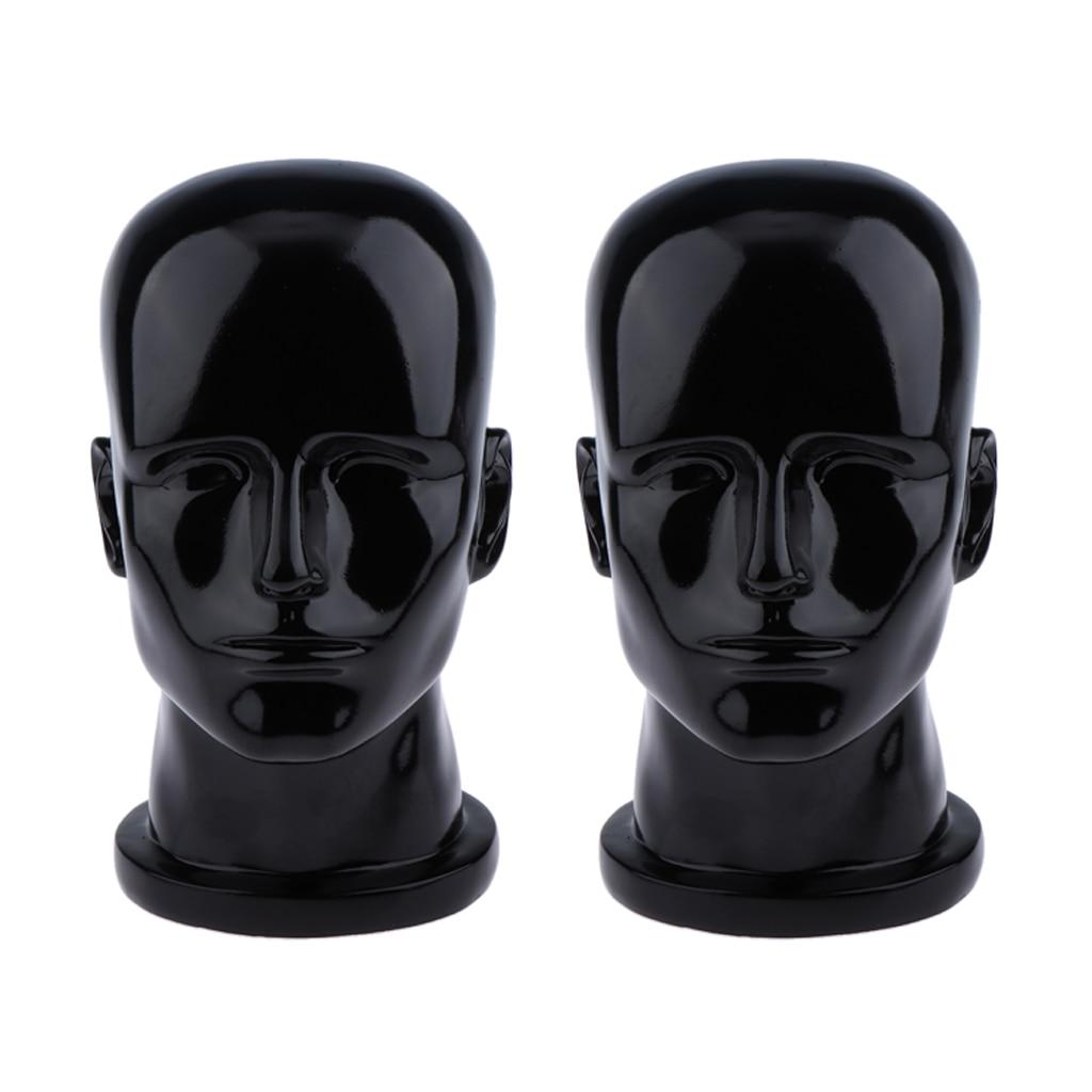 2x maniquí Peluca de cabeza masculina realista soportes de auriculares soporte de exhibición de gafas