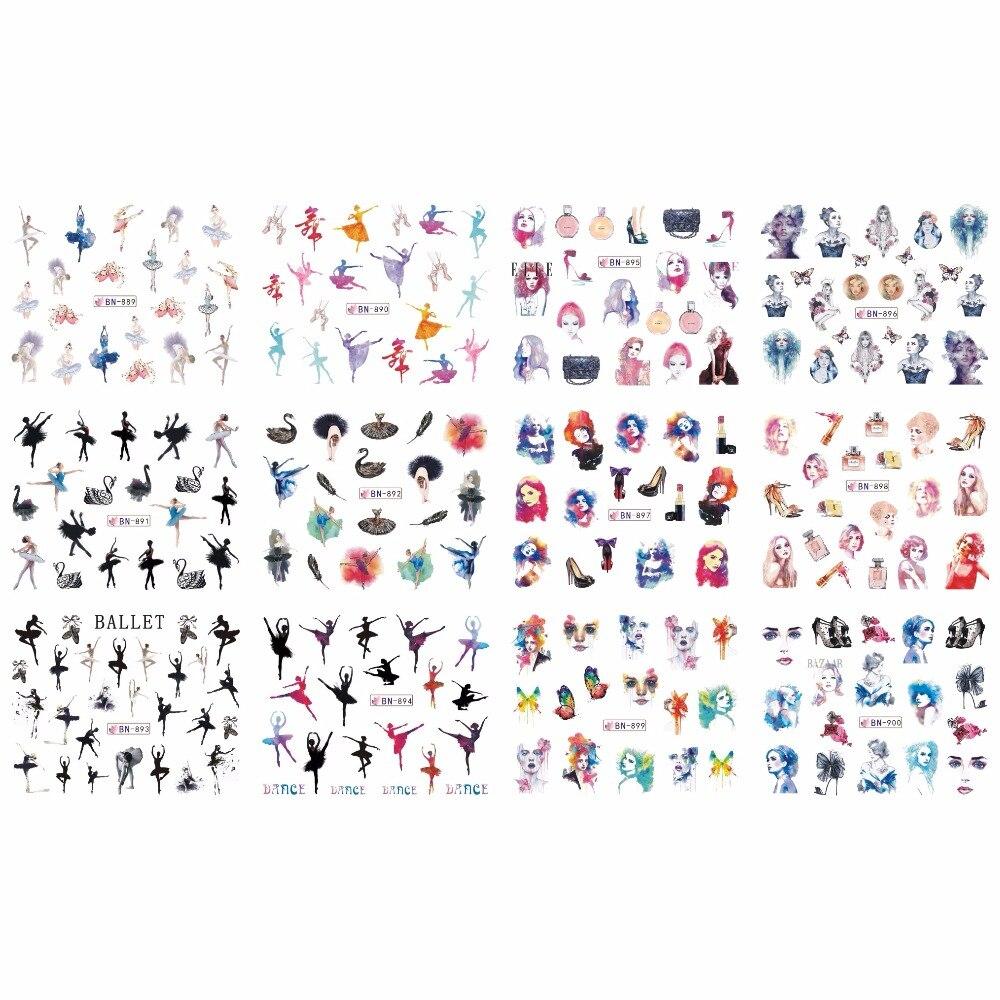 12 упак./лот, Переводные картинки для ногтей, наклейки для ногтей с полным покрытием, для балета, танцев, модные женские туфли, помады, лебеди, ...