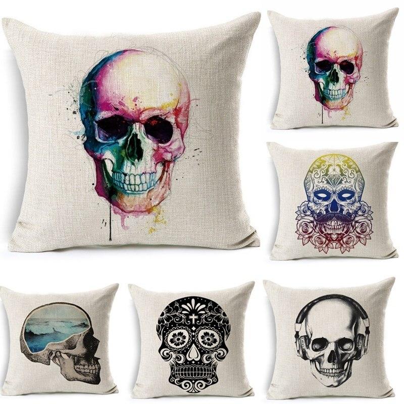 1Pcs 43*43cm Fashion Skull Pattern Cotton Linen Throw Pillow Cushion Cover Car Home Sofa Decorative Pillowcase funda cojin 40226