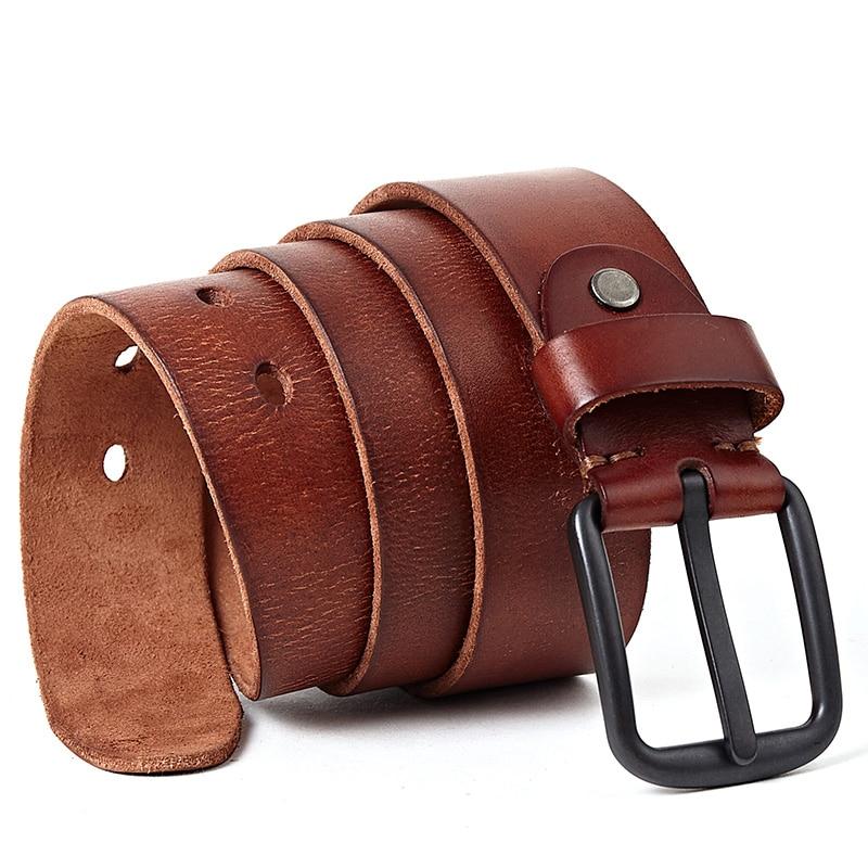 New 100% Cowhide Genuine Leather Belts for Men Brand Strap Male Pin Buckle Vintage Cowboy Jeans Cinturones Para Hombre