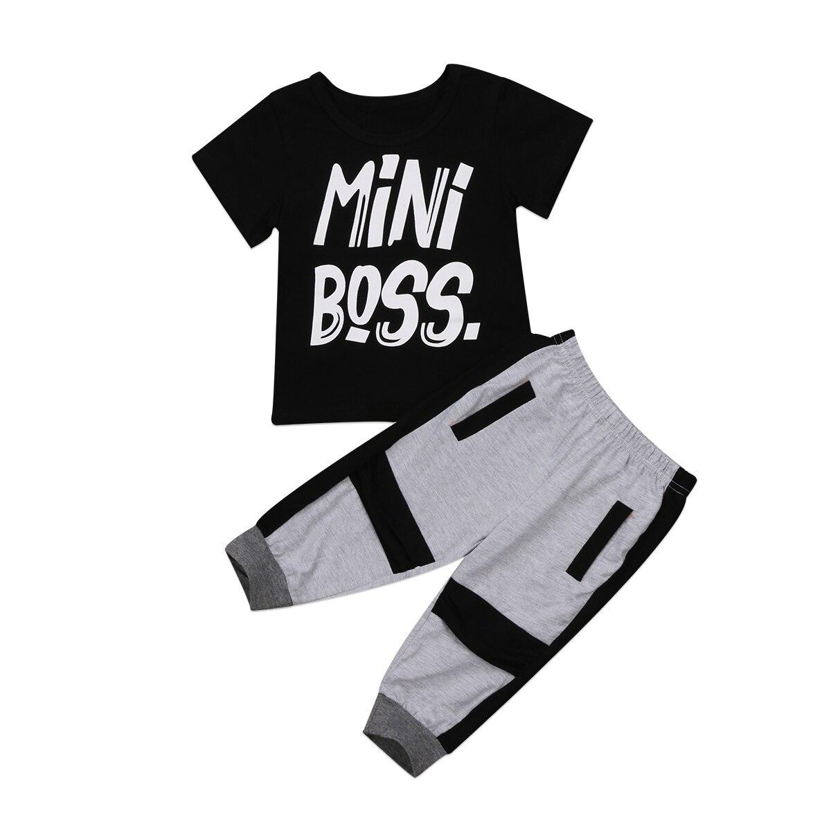 Ropa para niños y chicos, Mini Boss para niños pequeños, Camiseta de algodón de manga corta, pantalones bombachos, 2 uds, conjunto de ropa de verano para niños de 1 a 6 años
