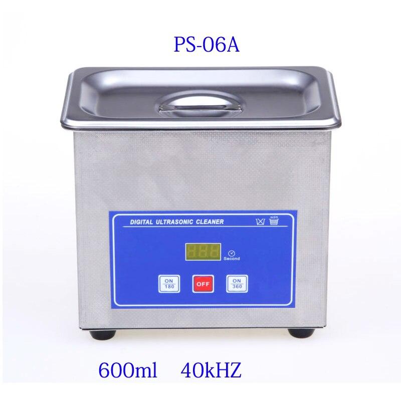Mini digital ultra-sônico mais limpo cesta de metal jóias de lavagem relógios dental pcb cd 600ml 35w 40khz banho mais limpo