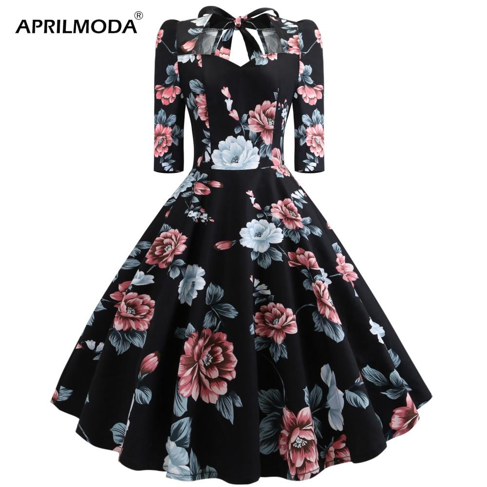 2019 Black Floral Printed Vintage Jurken Long Sleeve Hepburn Dress 1950s 60s 70s Rockabilly Swing Pinup Women Dresses for Party