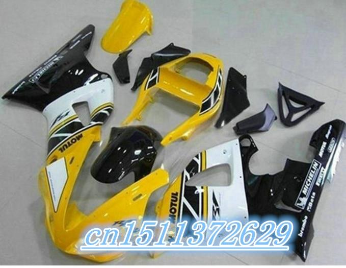 Amarillo Blanco negro Kit de carenado para YZF R1 00-01 YZF-R1 2000-2001 YZF1000 1000 YZFR1 00 01 2000, 2001