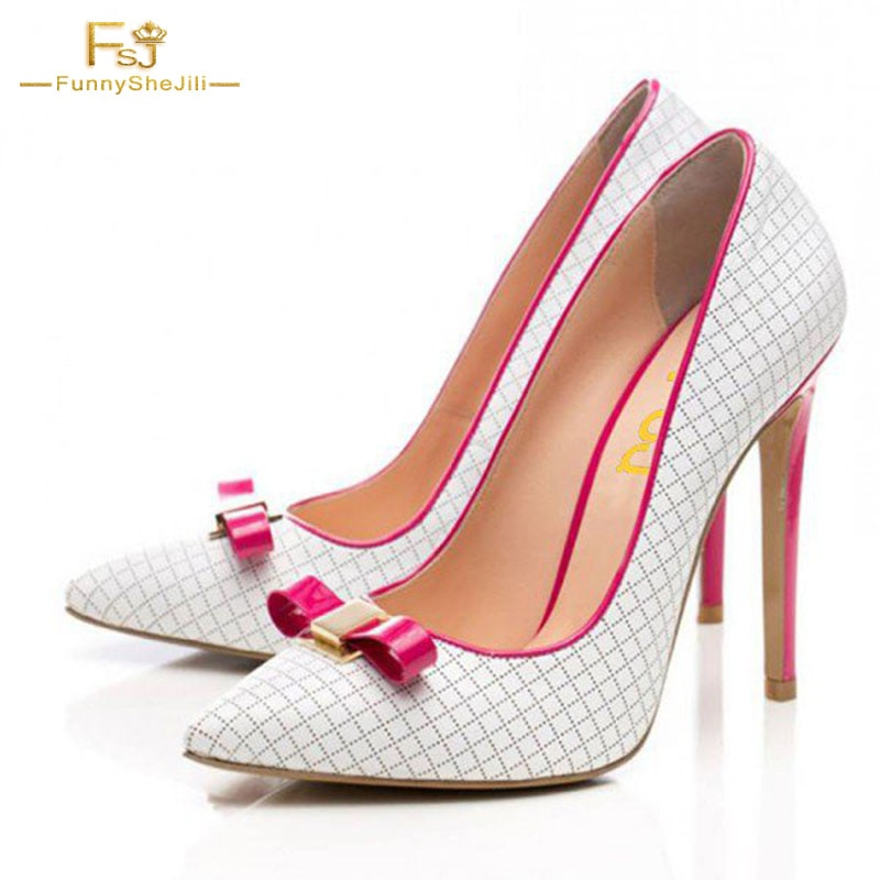 FSJ, zapatos de fiesta de 2020 con nudo de mariposa, zapatos de mujer blancos, tacones de arco fucsia, zapatos puntiagudos, zapatos de vestir a cuadros, zapatos de mujer Oficina