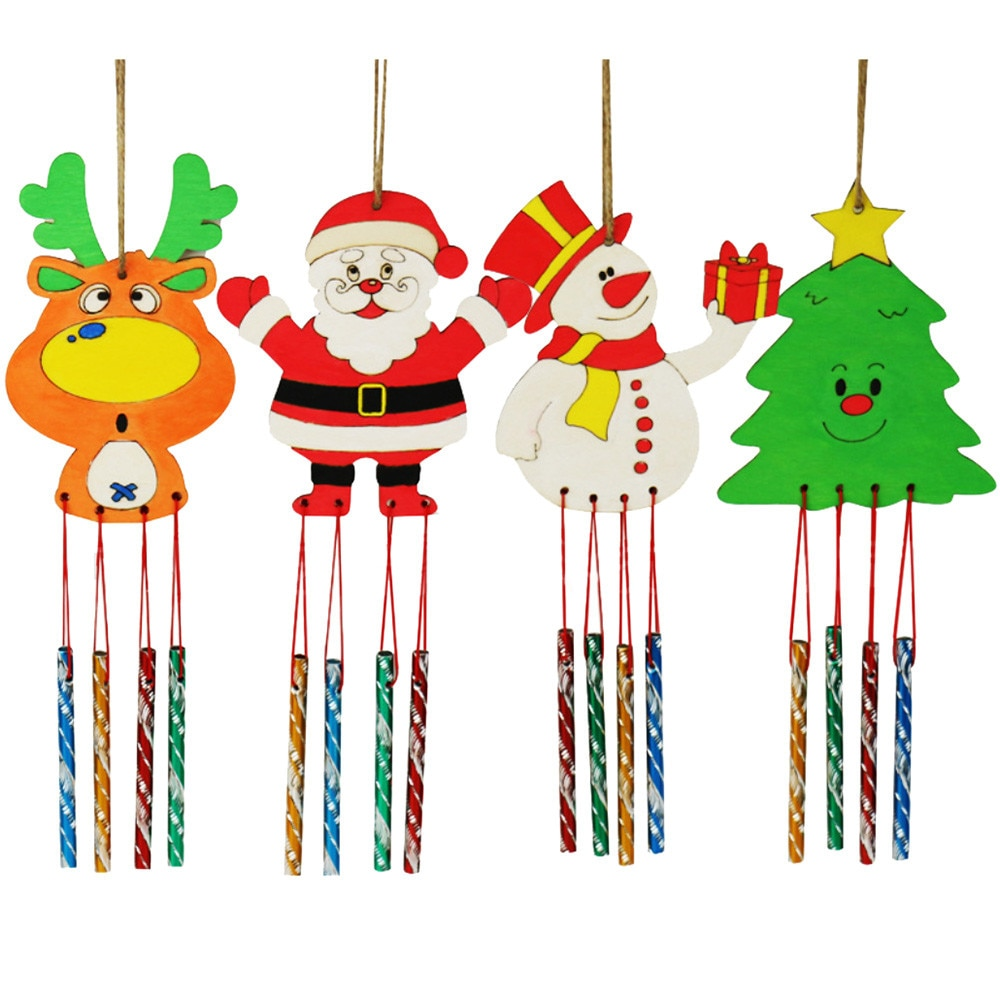 Timbre de viento creativo para la campana de viento de madera blanca de Navidad campana de viento nórdico decoración de habitación para niños Kinderkamer a710