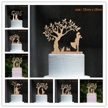 Gemengde Stijl hout cake topper dansende Bruid en Bruidegom Onder De Boom met Hond en Kat Bruiloft Cake Topper Cake decoratie