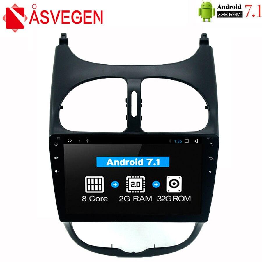 Asvegen 9 Octa Core Android 7,1 2G + 32GB coche audio estéreo de Radio para PEUGEOT 206 Multimedia reproductor de DVD de navegación GPS altavoz