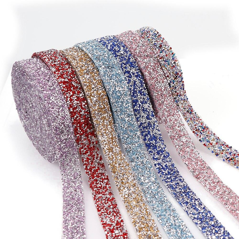 1 yarda 2cm Hotfix Rhinestone cinta colorido Color Trim Iron On Appliques PARA LA Ropa Decoración artesanal bolsa zapatos jeans DIY