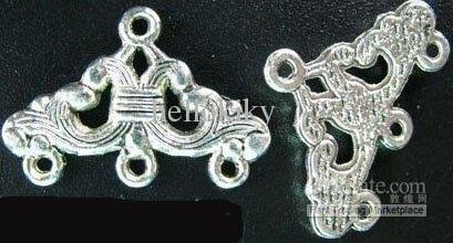 450 piezas de plata tibetana 3 hebras triangular enlace extremo barras A116
