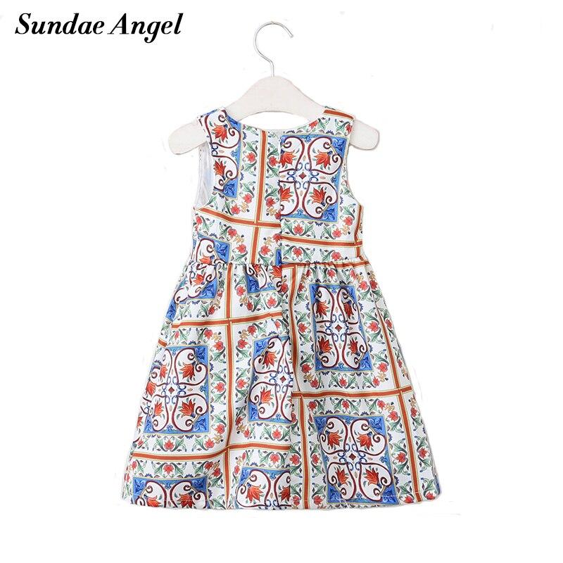 Vestido de chicas ángeles Sundae 2018, ropa de verano para niñas, ropa con cuello redondo con estampado de lirio para niños, ropa de 3-8 Y vestidos de princesa