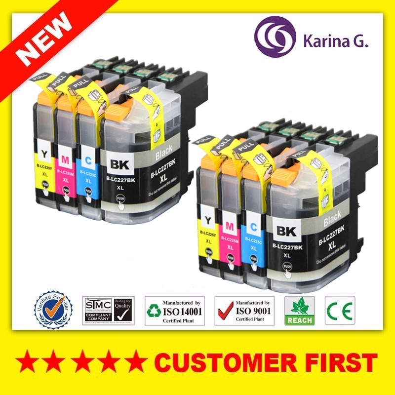 De alto rendimiento 2 conjuntos de cartuchos de tinta, cartuchos de LC225XL LC227XL hermano MFC-J5320DW MFC-J5620DW MFC-J5625DW