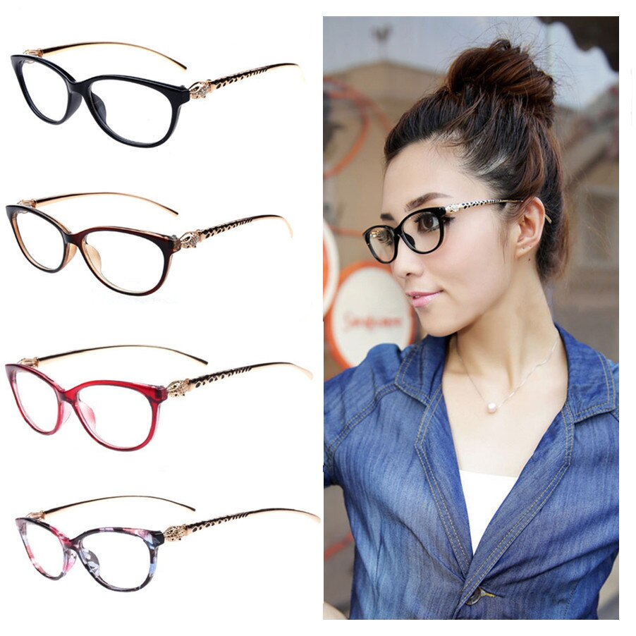 2019 Fashion Cheetah Earstems Glasses frames Women Ladies Leopard Decorative Reading Glasses Frame Eyeglasses No Degree