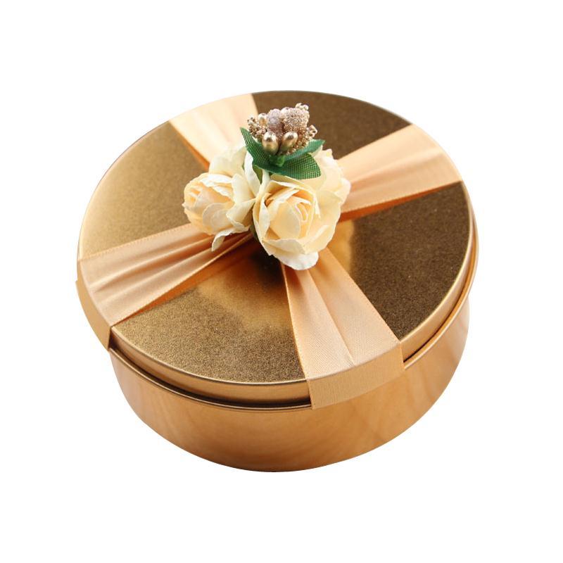 6 pcs de folha de Flandres Caixa De Armazenamento Dos Doces Caixa de Presente de Ouro Para O Casamento da Festa de Aniversário de Lata de Decoração Caixa de Presente Com Decoração de Flores