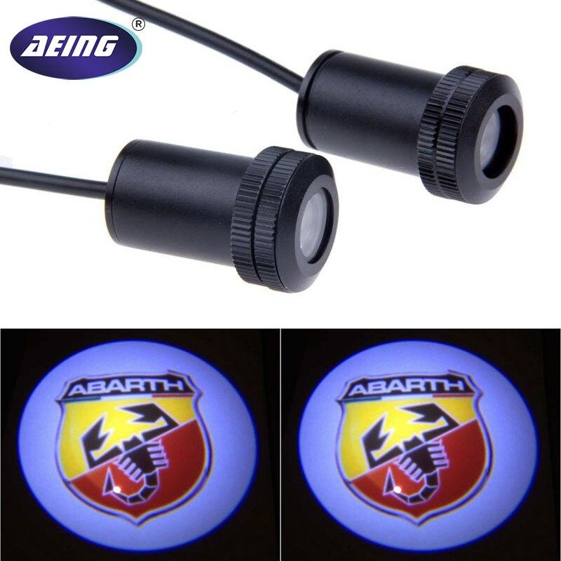 Aeing 2 pçs fantasma sombra logotipo bem-vindo carro led porta luz laser cortesia slide projetor logotipo emblema luz para abarth