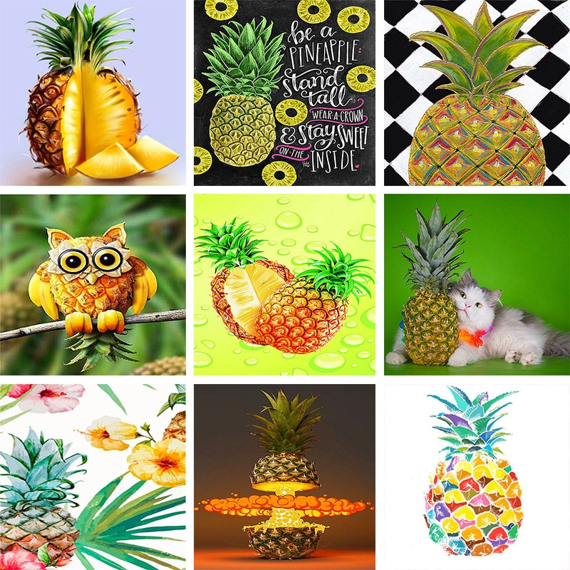 Diamond Embroidery Fruit 5D DIY Diamond Painting Pineapple Black and white Cross Stitch Full Square Mosaic Home Decor
