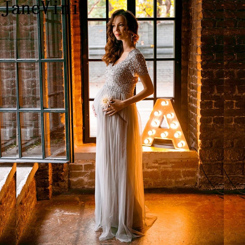JaneVini Cinza Prata Mulheres Grávidas Vestido Longo Festa Formal Vestidos de Noite 2019 Lantejoulas Tulle Mãe da Noiva Vestidos Vestido