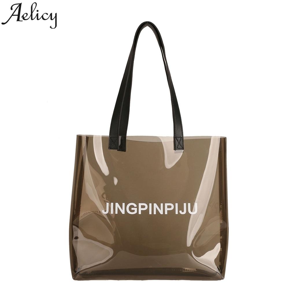 Aelicy przezroczysta torba s dla kobiet dla pań moda na co dzień zakupy galaretki torby dziewczyny przezroczysta torba przezroczysty Pvc dla dziewczynek