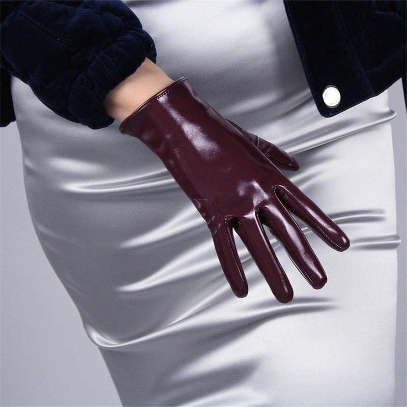 Guantes de charol de 21cm, sección corta de emulación, cuero, espejo, rojo vino brillante, rojo oscuro, púrpura, rojo, con pantalla táctil, para mujer WPU90