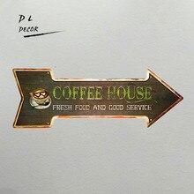 Dl-café casa comida fresca y buen servicio vintage flecha Metal signo café restaurante al aire libre pegatina de pared