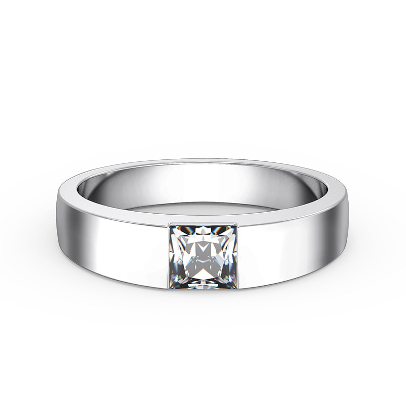 Promo 0.5Ct Princess Cut Diamond Engagement Solitaire Ring for Her Solid Platinum 950 Ring Marriage Jewelry